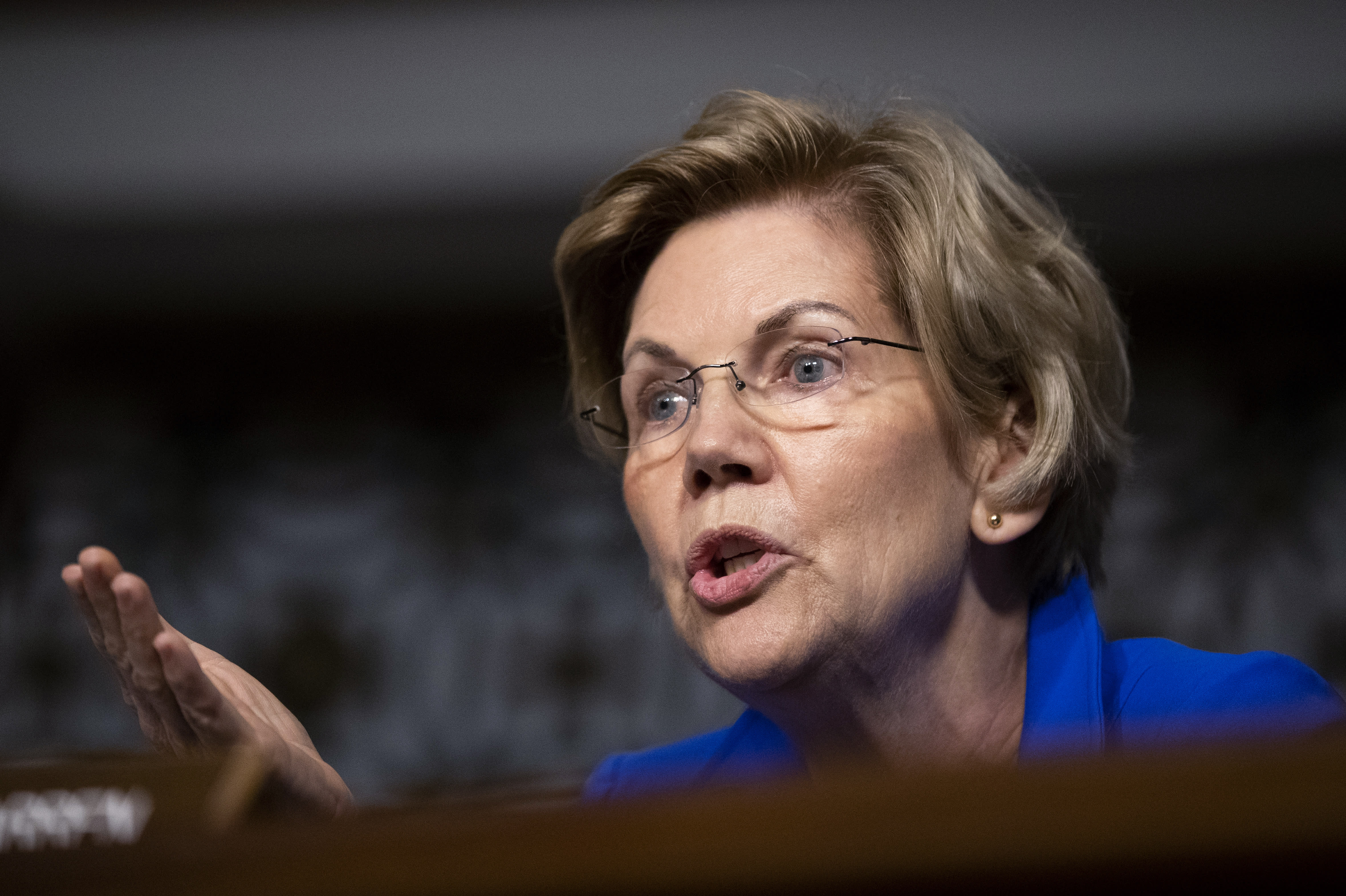 Senate Armed Services Committee member Sen. Elizabeth Warren, D-Mass., questions Secretary of the Army and Secretary of Defense nominee Mark Esper during his confirmation hearing on Capitol Hill in Washington, Tuesday, July 16, 2019. (AP Photo/Manuel Balce Ceneta)