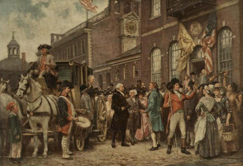 <p>Print shows George Washington arriving at Congress Hall in Philadelphia, March 4, 1793. (Photo: Library of Congress) </p>