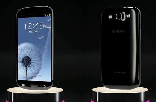 Black Galaxy S III shown on T-Mo website: glossy and shady in equal measure