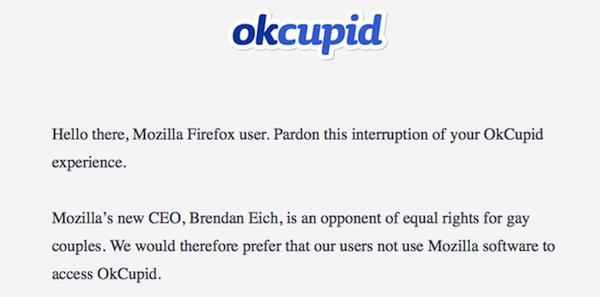 Continúan quejas en contra del nuevo CEO de Mozilla; ahora por parte de OkCupid