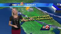 Scattered showers expected Monday afternoon
