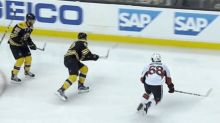 Bruins shoot puck over the glass 3 times in first period (Video)