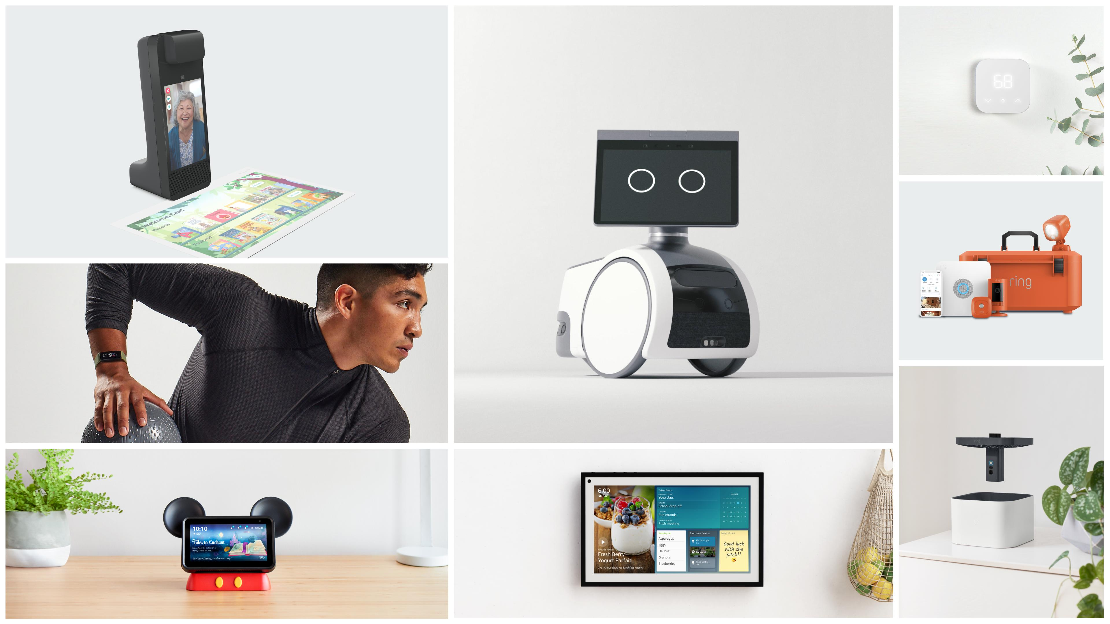 Amazon Devices and Services Fall 2021: A grid of thumbnails showing (clockwise from top left): the Amazon Glow, Astro robot, Smart Thermostat, Blink cameras, Ring security drone, Echo Show 15, Echo Show in a Mickey Mouse holder and Halo View band.