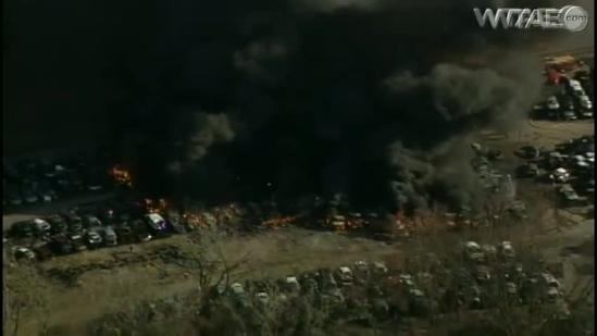 Sky 4 video: Fire rages at auto salvage yard