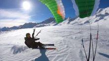 Kite Skiers Display Impressive Skills in French Alps
