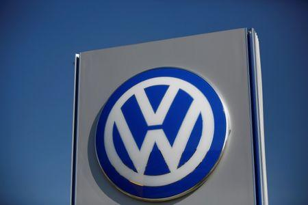 Volkswagen logo is pictured at the newly opened Volkswagen factory in Wrzesnia near Poznan