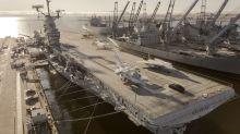 Watch the Porsche Taycan make a 0-90-0 test run on the USS Hornet flight deck