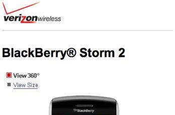 BlackBerry Storm 2 appears on Verizon pages