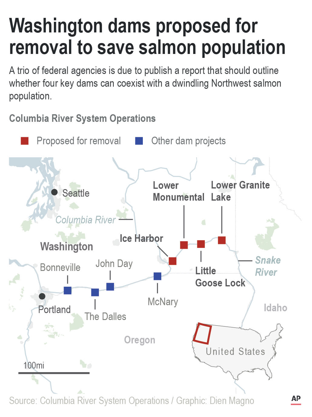 Map locates dam sites in state of Washington proposed for removal to save salmon population; 2c x 4 1/4 inches; 96.3 mm x 107 mm;