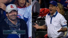 This is what Bill Murray did to Jon Hamm's St. Louis cap during the World Series