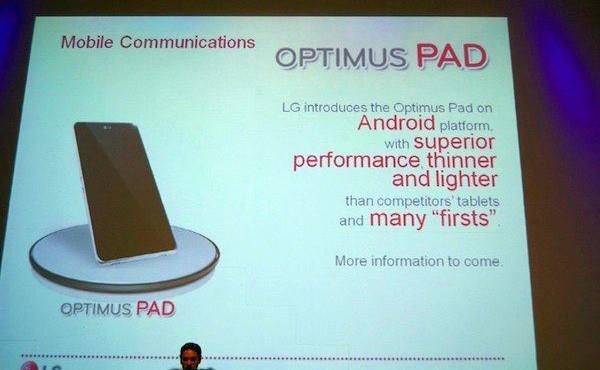 LG Pad coming in Q1 2011, with Android Honeycomb, dual-core Tegra 2, and 8.9-inch screen