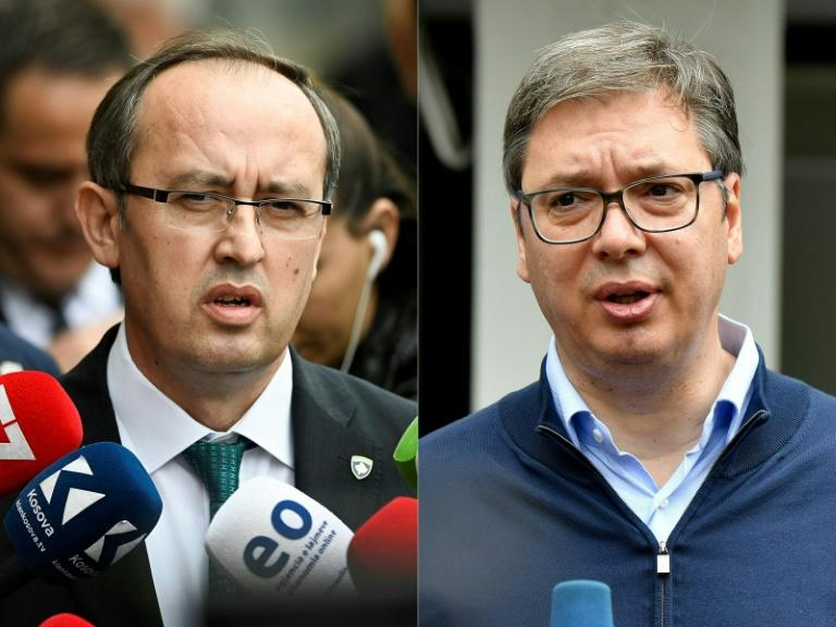 After a virtual meeting organised by EU officials, Serbian President Aleksandar Vucic (right) and Kosovo's new Prime Minister Avdullah Hoti will finally meet face-to-face in Brussels (AFP Photo/Armend NIMANI, ANDREJ ISAKOVIC)