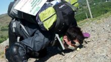 Man pushes Brussels sprout up Mount Snowdon with his nose