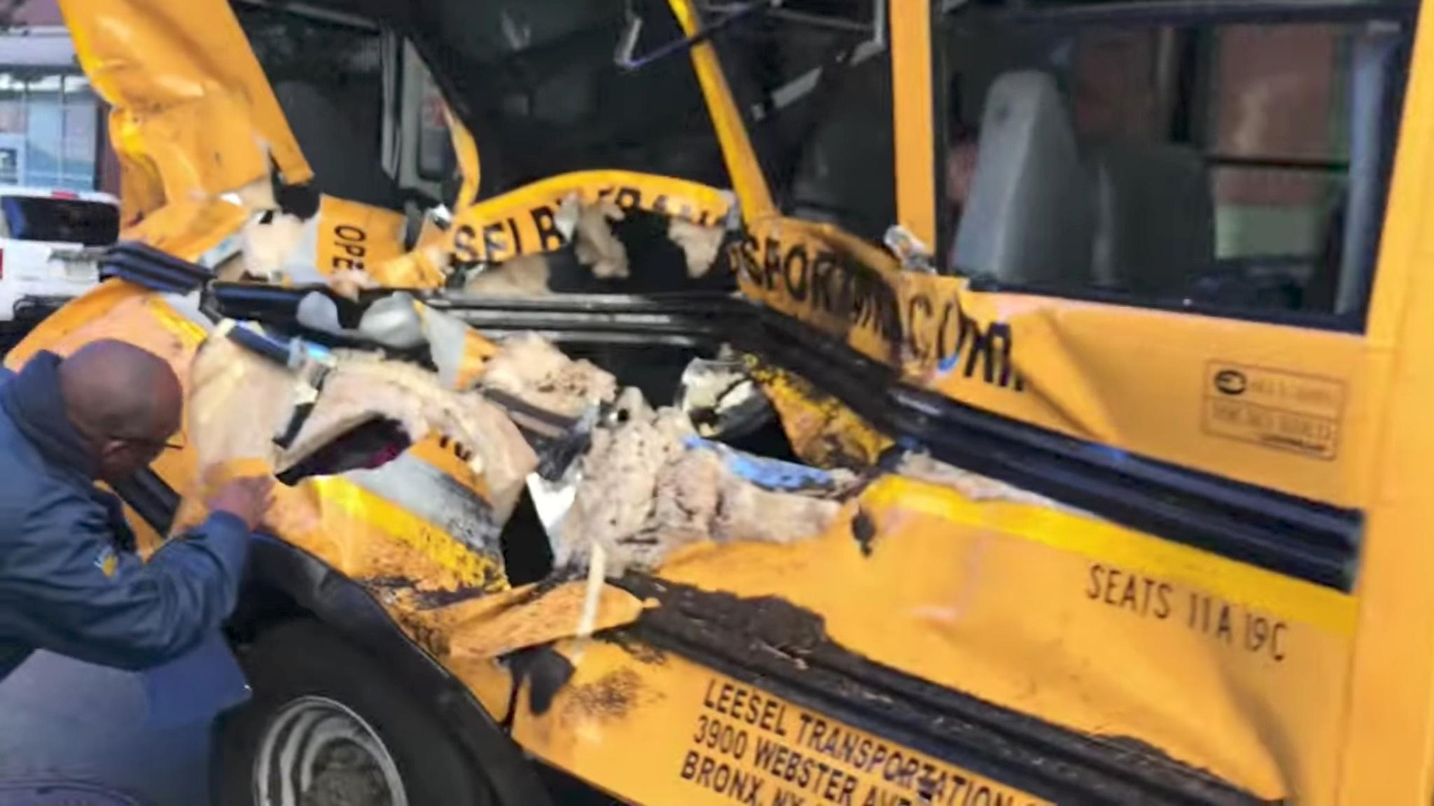 <p>A damaged school bus is seen at the scene of a pickup truck attack in Manhattan, New York, Oct. 31, 2017 in this picture obtained from social media. (Photo: Sebastian Sobczak/Reuters) </p>
