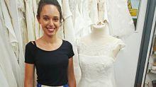 Bride in tears over handwritten note in second-hand wedding gown
