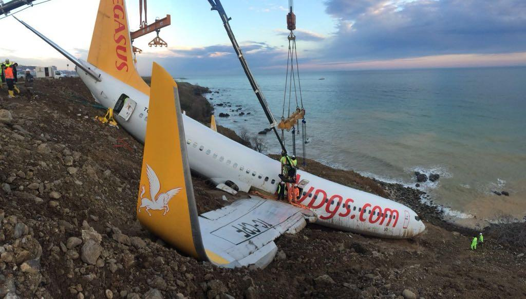 <p>A crane lifts Pegasus airplane which was stucked in mud as it skidded off the runway after landing in Trabzon Airport, Turkey early Sunday on Jan. 18, 2018. (Photo: Anadolu Agency/Getty Images) </p>