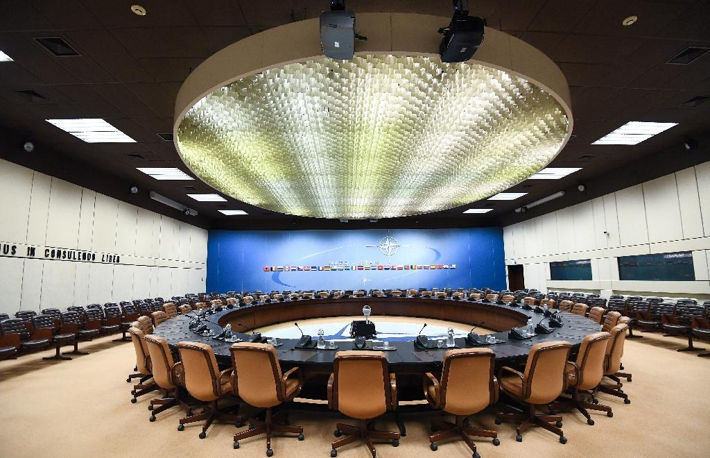 The NATO ministerial will be the last meeting held in the historic North Atlantic Council room, as the alliance moves to a new headquarters (AFP Photo/Emmanuel DUNAND)