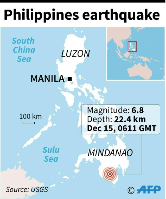 Map locating a 6.8 magnitude earthquake which hit the southern Philippines on Sunday. (AFP Photo/Jonathan WALTER)
