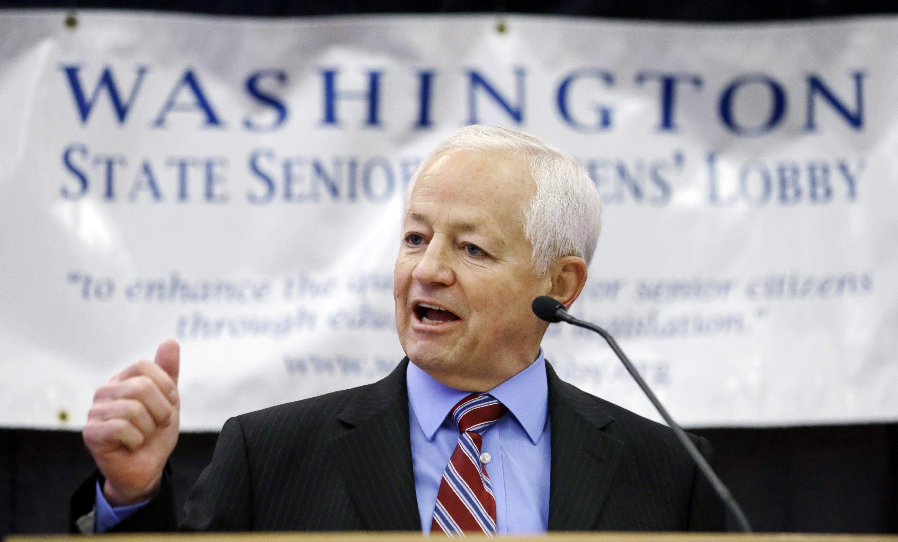 This photo taken Feb. 20, 2014 showsWashington state Insurance Commissioner Mike Kreidler speaking to seniors at an annual lobby day for the group in Olympia, Wash. Cancer patients relieved that they can get insurance coverage because of the new health care law may be disappointed to learn that some of the nation's best cancer hospitals are off limits. Only four of 19 nationally recognized comprehensive cancer centers that responded to an Associated Press survey said patients have access through all the insurance companies in their state's exchange, or primary market. (AP Photo/Elaine Thompson)