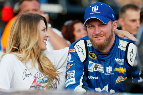 Dale and Amy Earnhardt before a 2015 Bristol race. (Getty)