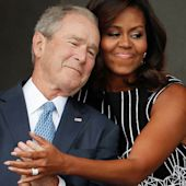 Powerful image of Michelle Obama embracing George W. Bush at museum opening goes viral