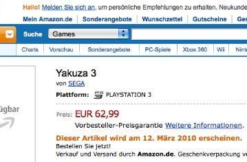 German retailer lists localized version of Yakuza 3