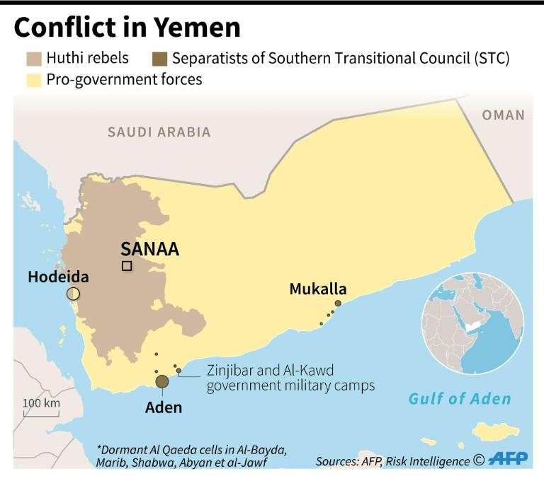 Map showing areas of territorial control in the Yemen conflict, as of February 13, 2020 (AFP Photo/)