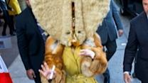 Lady Gaga Puts on Mustache and Furry Head in Germany
