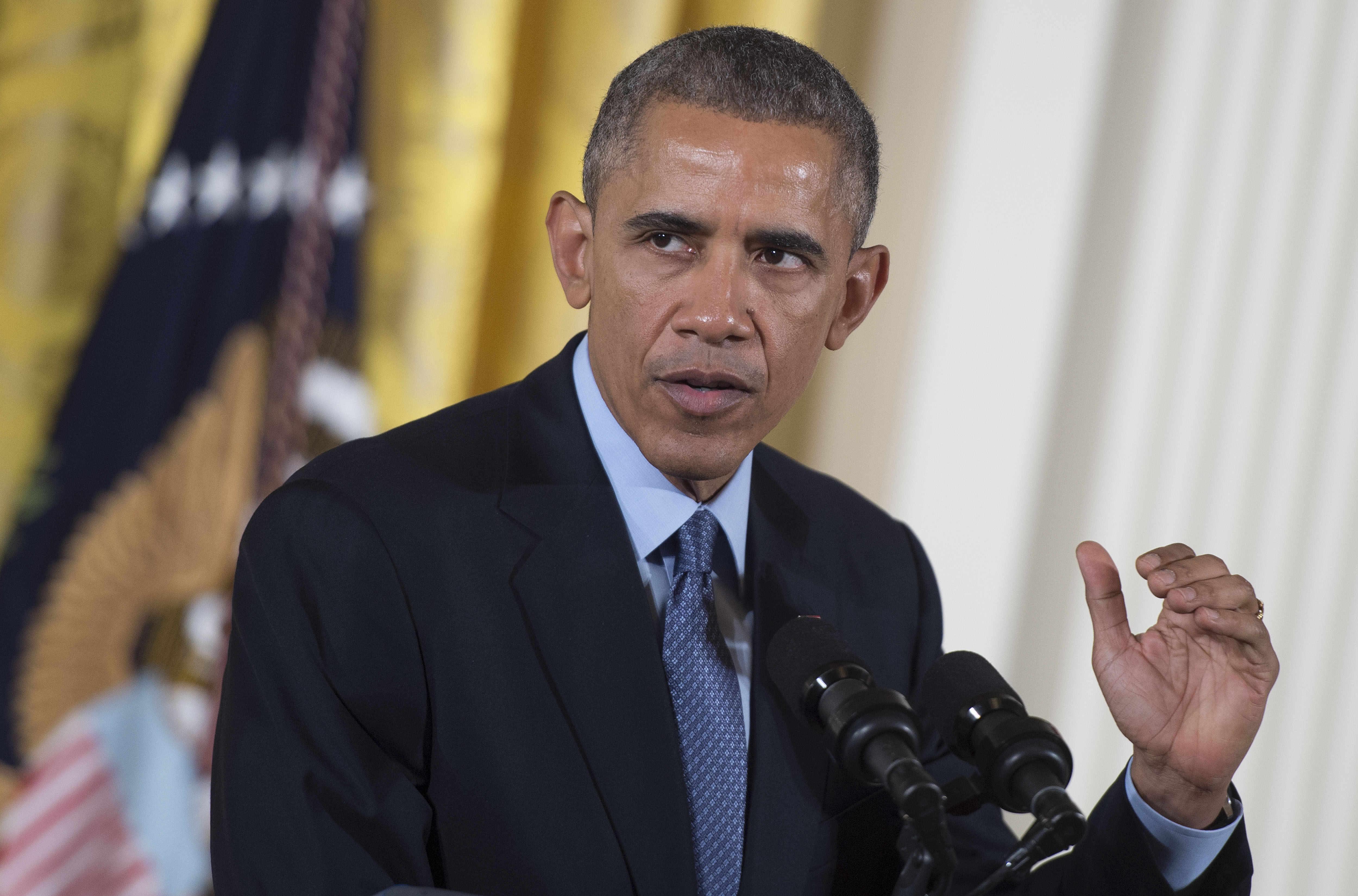 US President Barack Obama speaks at the White House in Washington, DC on February 12, 2015