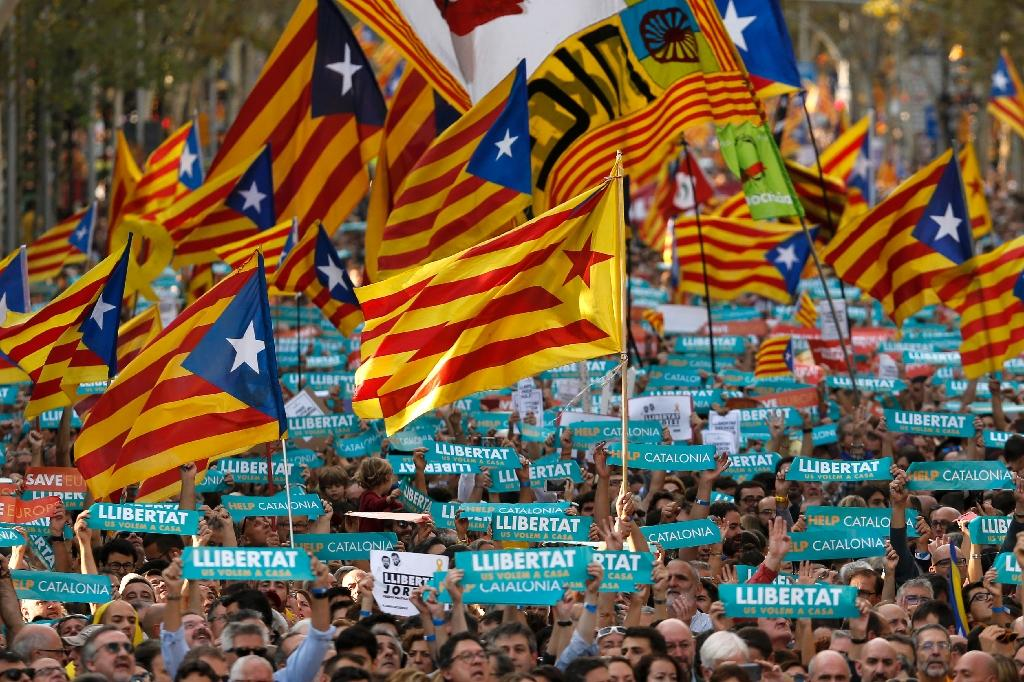 Catalonia is fiercely protective of its language and culture and has long struggled for autonomy -- which was restored after the repressive 1939-1975 rule of dictator Francisco Franco (AFP Photo/PAU BARRENA)