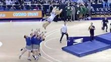 Guys Throw BYU Cougar Mascot Into A Soaring Slam Dunk From Beyond 3-Point Line