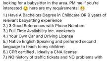 Mãe cria lista de exigências absurdas para contratar babá