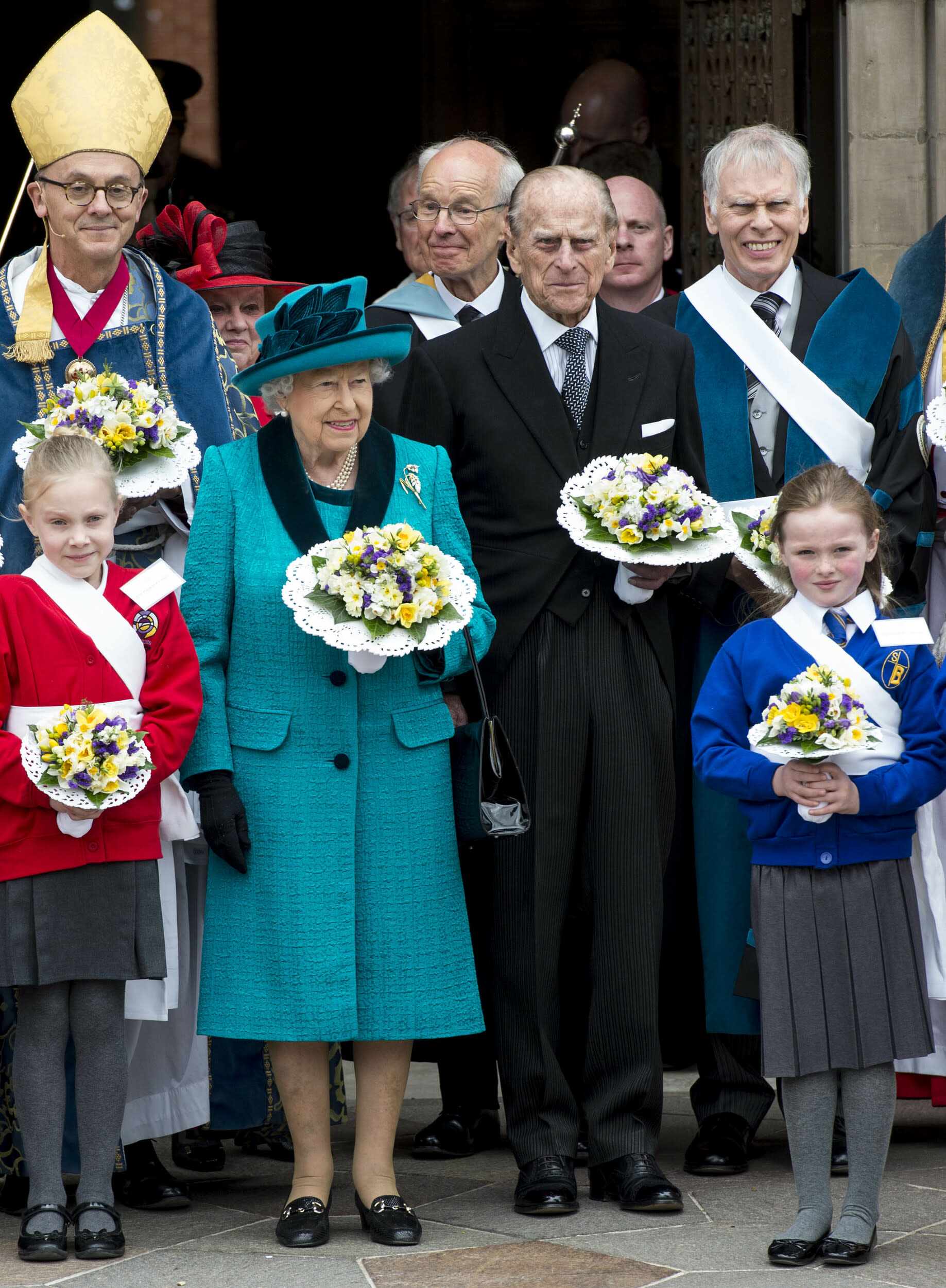 Photo by: KGC-178/STAR MAX/IPx 2017 4/13/17 Queen Elizabeth II and Prince Philip, Duke of Edinburgh attend the Royal Maundy service at Leicester Cathedral in Leicester.