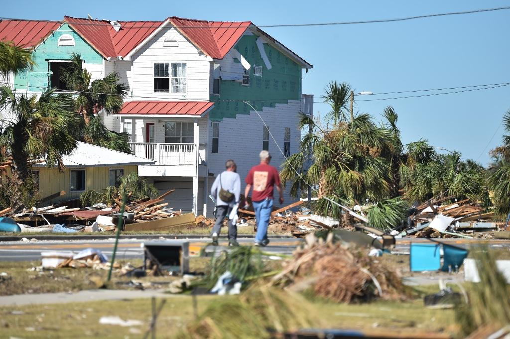 Mexico Beach, a town of just 1,200 people, has been devastated by Hurricane Michael, which made landfall Wednesday as a Category 4 storm (AFP Photo/HECTOR RETAMAL)