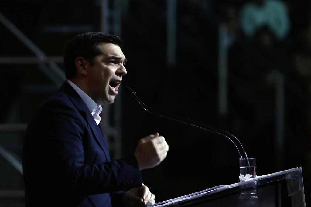 Greek Prime Minister Alexis Tsipras delivers a speech to celebrate his first year in power, on January 24, 2016, in Athens