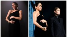 Meghan Markle shows off her growing bump at fashion awards