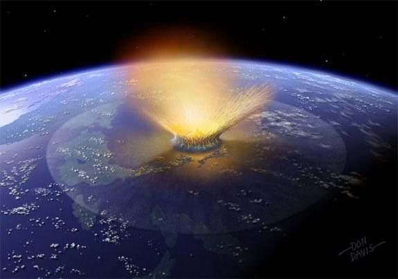 Researchers speculate a giant fragment produced by a collision between two asteroids smashed into Earth 65 million years ago, creating the Chicxulub crater off the coast of the Yucatan.