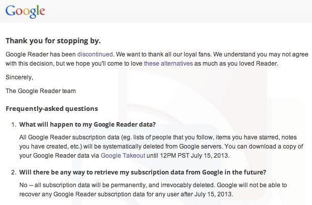 PSA: Download your Google Reader data by July 15th