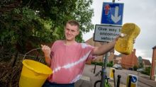 Selfless teen becomes local hero after cleaning dirty road signs and cutting back overgrown hedges