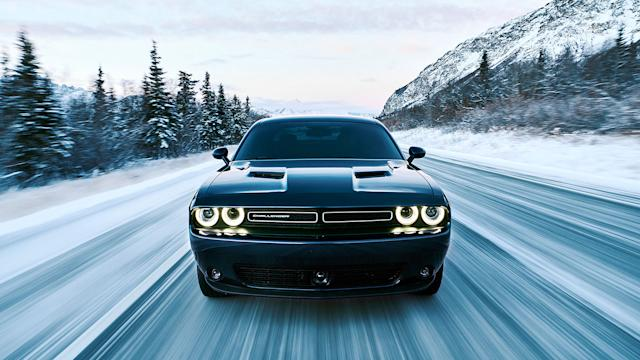dodge challenger gt awd snow hooning the drive