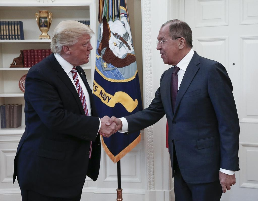 US President Donald Trump and Russian Foreign Minister Sergei Lavrov met at the White House in May 2018 (AFP Photo/HO)