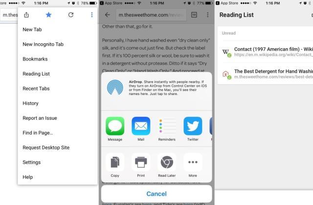 Chrome for iOS adds a Safari-like Reading List