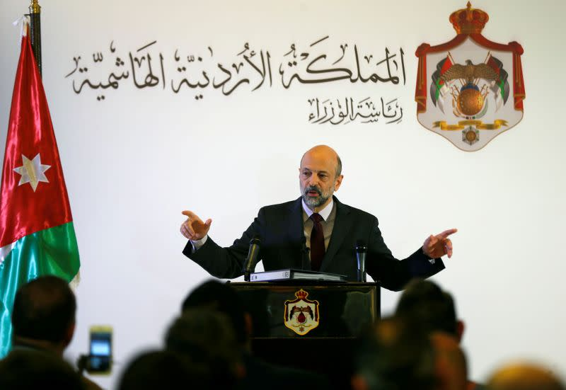 FILE PHOTO: Jordan's Prime Minister Omar al-Razzaz speaks to the media during a news conference in Amman