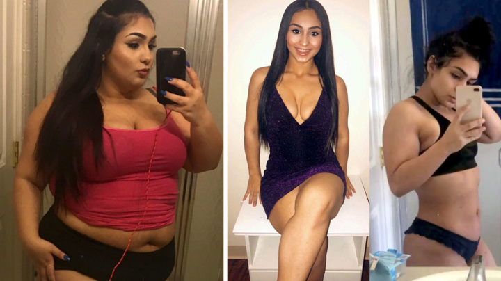 Teen drops 64kg in dramatic transformation
