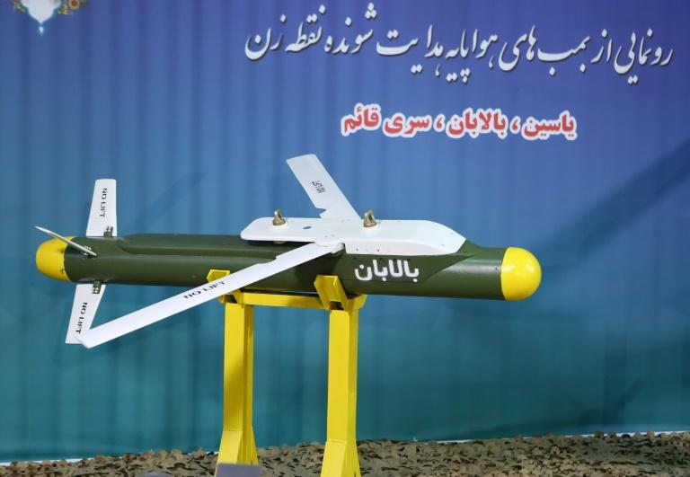 "A handout picture released by Iran's Defence Ministry on August 6, 2019 shows the missile ""Balaban"" during an unveiling ceremony in the capital Tehran of three precision-guided missiles (AFP Photo/-)"