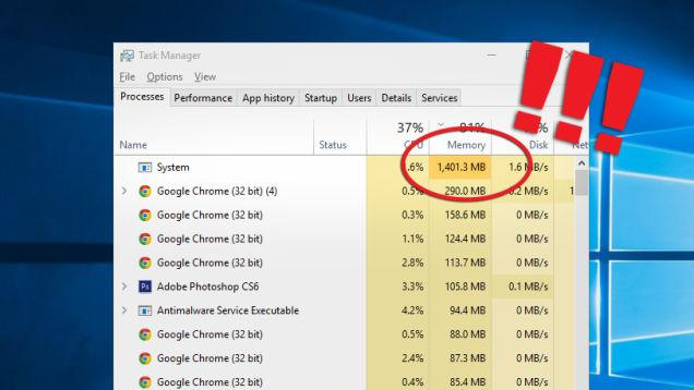 memory usage problems windows 10