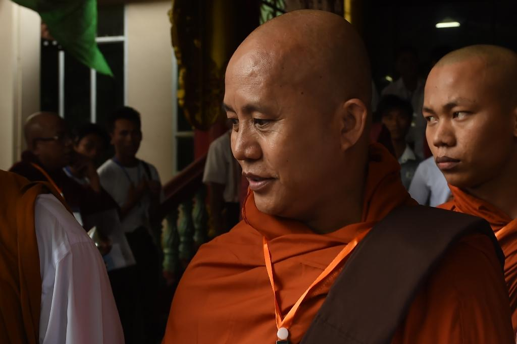 """Hardline Myanmar Buddhist monk Wirathu, who has been accused of preaching hate, is the suject of Barbet Schroeder's documentary """"The Venerable W"""" (AFP Photo/ROMEO GACAD)"""