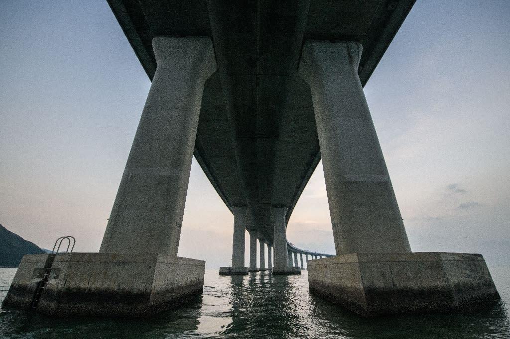 The mega bridge links Hong Kong's Lantau island to Zhuhai and the gambling enclave of Macau (AFP Photo/Anthony WALLACE)