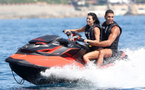 Kourtney Kardashian and Younes Bendjima had a ball in Cannes, France. (Photo by J. Almasi/GC Images)
