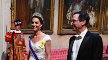 Duchess of Cambridge wears Princess Diana's tiara for state banquet with Queen and Donald Trump